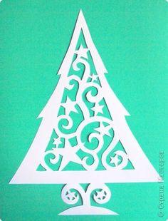 Поделка, изделие Вырезание: Елка на окно Бумага Новый год