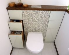 Space Saving Toilet Design for Small Bathroom 32 Small Bathroom With Shower, White Bathroom Tiles, Gray Tiles, Design Bathroom, Bathroom Ideas, Wc Design, Toilet Design, Design Ideas, Space Saving Toilet