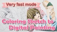 sketch to digital painting - photoshop - very fast way - manga art