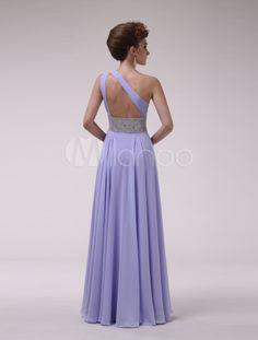 Vestido de damas de honor de chifón con escote a un solo hombro - Milanoo.com