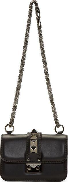 Valentino: Black & Gunmetal Rockstud Chain Mini Lock Bag   SSENSE