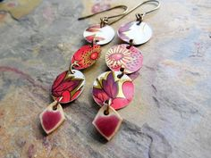 Vintage Tin and Ceramic Dangle Earrings by ChelseaGirlDesigns