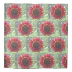 Rusty Red Sunflower Duvet Cover - red gifts color style cyo diy personalize unique