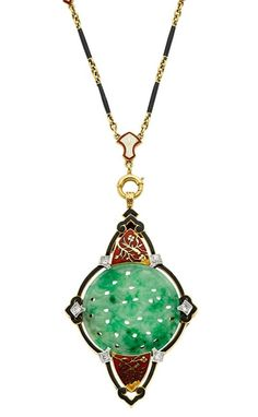 Art Deco Jadeite Jade, Diamond, Enamel, Gold Necklace.