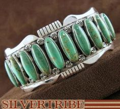 American Indian Navajo Kingman Turquoise And Sterling Silver Cuff Bracelet HS44481