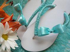 Tiffany blue flip flops, bridal flip flops for blue wedding, fancy embellished with blue satin bow, beach wedding shoes. $40.00, via Etsy.