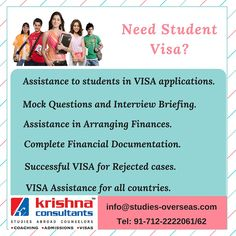 Visa success rate of Krishna Consultants is 95%. Check http://www.studies-overseas.com/WebForms/Exl_Visa.aspx