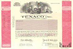 Y3051 Muzeum cennych papiru / Texaco Inc. Certificate of Stock Specimen