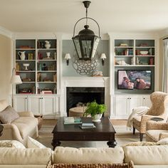Living room set up (can use different furniture prices). Excellent Built In Bookshelves Around Fireplace Regarding Family Room After Decorating Pic Design Living Room, Family Room Design, Home Living Room, Living Room Decor, Living Spaces, Family Rooms, Small Living, Kitchen Living, Narrow Living Room