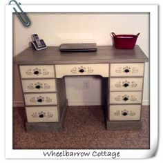 Wheelbarrow Cottage: Peacock...No, Taupe Stenciled Desk  Antique desk painted in Shabby Paints Cali Taupe and Worn White Chalked Paint.  Finished with Black ReVax.