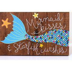 Mermaid wood sign mermaid painting mermaid art on by ArtBySharell (Outdoor Wood Signs) Mermaid Canvas, Mermaid Sign, Mermaid Wall Decor, Mermaid Quotes, Mermaid Wall Art, Mermaid Bedroom, Mermaid Nursery, Mermaid Hair, Sonic Party