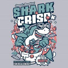Shark Crisp Cereal T-Shirt From wackytoonz. Shark Illustration, Digital Illustration, Shirt Print Design, Shirt Designs, Dark Art Illustrations, Shark T Shirt, Typography Poster, Cartoon Art, Logos