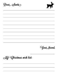 Letters To Santa Free Printable  Free Printable Printable