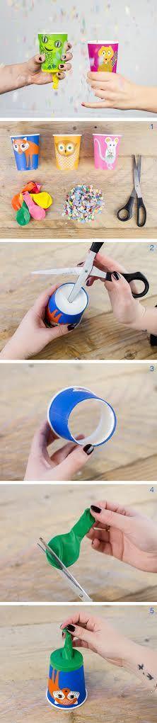 Confetti kanon van paper cup!   #party #gift #confetti #DIY
