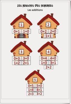 """""""Las casas de los números"""" (""""Les maisons des nombres"""") son unas extraordinarias fichas, de iticus.free.fr,  en las que practicar la suma componiendo los números con los sumandos adecuados. Preschool Arts And Crafts, Math Activities For Kids, Kids Math Worksheets, Paper Crafts For Kids, Math For Kids, Math Games, Kindergarten Math, Teaching Math, Paper Clock"""