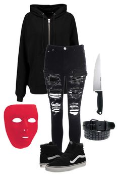"""My Halloween Costume"" by blackfashion123 ❤ liked on Polyvore featuring BLK DNM, Glamorous, Vans and Kershaw"