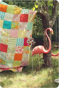 Summer quilt with a flamingo - what more could you ask for? Love the vintage sheets with modern fabrics  June 16, 2014- I'm looking to start a modern quilting bee, like in the book Block Party. If you are interested, send me a message!
