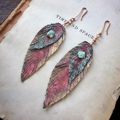 Raw Turquoise Painted Leather Feather Earrings By Sara Reynolds Jewelry