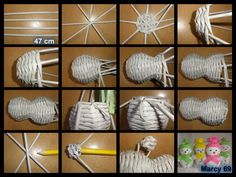 Návod na mini sněhuláka Straw Weaving, Paper Weaving, Basket Weaving, Newspaper Basket, Newspaper Crafts, Sun Paper, Paper Furniture, Willow Weaving, Christmas Art