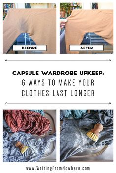 Low waste hacks Capsule wardrobe upkeep is a vital part of a low-waste lifestyle. Keep your clothes alive longer amp; make your clothes look better with these laundry hacks Remove Armpit Stains, Arm Pit Stains, Diy Cleaning Products, Cleaning Hacks, Household Products, Household Tips, Slow Fashion, Ethical Fashion, Fashion Tips