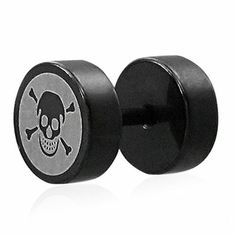 Black anodized stainless steel pirate skull faux fake ear plug pair qpc160  www.mystic-steel.com