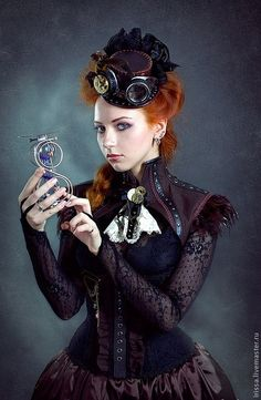Steampunk Victorian beauty in rich shades of plum & violet.