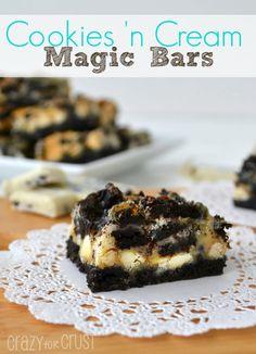 Cookies 'n Cream Magic Bars | crazyforcrust.com | #magicbar #Oreo