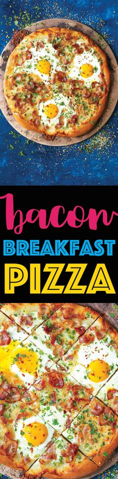 Bacon Breakfast Pizza - Your mornings just got better. It's the easiest pizza for breakfast! Loaded with crisp bacon bits, eggs and mozzarella cheese. It's breakfast at its best!
