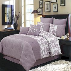 Bliss Purple Luxury 12-Piece Bed in a bag Comforter Set - Sears