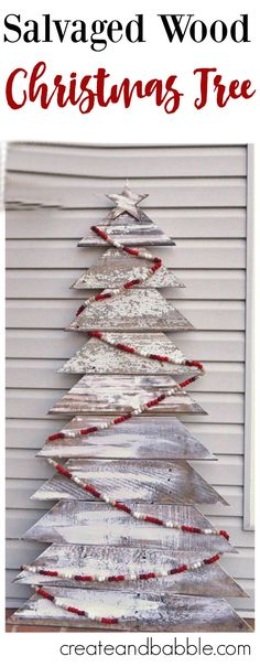 DIY Christmas Tree - Salvaged wood Christmas tree decoration perfect to spice up any home!