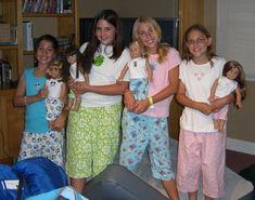 Pajama Party. Make matching girl and doll pajamas. Iron on fabric to a T-shirt.