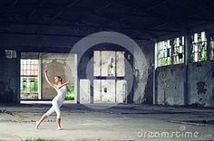 Beautiful Young Ballerina Dancing In Abandoned Factory Building Stock Photo - Image: 89412322