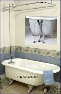 "Circa 1880 63"" Classic Style Clawfoot Tub and Glass Shower ..."