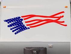 USA Flag Camper Decals - Motorhome Stripe Kit - RV Stickers - Trailer Stickers- Sticker Graphic- Motorhome Decals- RV Stripe Kit- US05