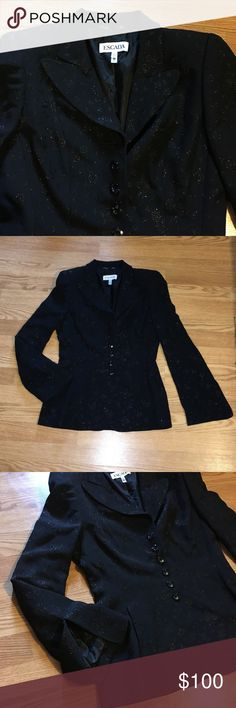 Escada Blazer Jacket with flower design Size 36, length: 25' and Armpit to armpit: 17' with shoulder pads, fits like a Medium , 52% acetate 46% rayon 2% nylon, in great like new condition from smoke free home Escada Jackets & Coats Blazers