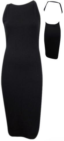 Ribbed Backless Bodycon Midi Dress - Black #shoppitaya