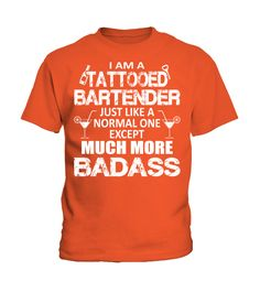Tattooed Bartender Much More Badass Funny Bartender Pullover Hoodie (Kid T-Shirt - Orange) #cars #geek #hair bartender art, bartender tattoo ink, bartender tattoo lime juice, back to school, aesthetic wallpaper, y2k fashion