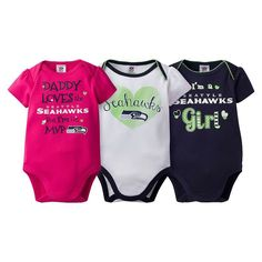 Baby Girl Seattle Seahawks 3-Pack Bodysuits, Size: 3-6 Months, Blue