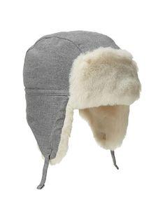 3efb13d5742 Faux-fur flannel trapper hat