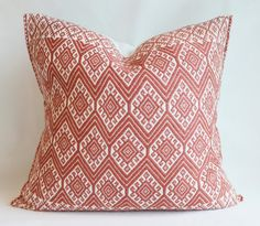 Handwoven Pillow Cover from Chiapas. Decorative Pillow. Coral Color.