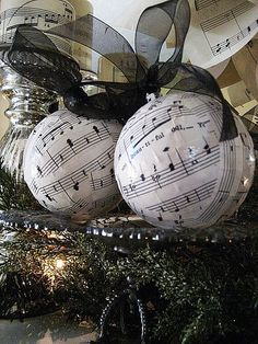 sheet music ornaments - cover old balls that aren't looking good any more