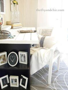 Brilliant DIY Desk Design for Home Office : Simple Design DIY Computer Desk Ideas With Bookshelf Leg Small Bookcase, Diy Computer Desk, Furniture, Home Diy, Home Office Furniture, Small Home Offices, Simple Desk, Old Desks, Desk Makeover Diy