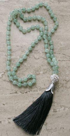 Beaded Tassel Necklace Long Beaded Necklace by FlowersInMyHairShop