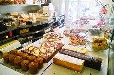 Rose Bakery--several locations; nearest our apt: 24 rue de Sevres @ Le Bon Marche. Rose Bakery, Rue De Sevres, Small Bakery, Cake Cafe, French Bakery, Paris Restaurants, Paris Travel, Deli, Love Food