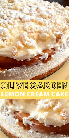 dessert recipes This past Easter my family tried out a recipe for an Olive Garden Lemon Cream Cake Copycat. The verdict was it was very delicious, although not an exact match to the Ol Lemon Desserts, Lemon Recipes, Köstliche Desserts, Baking Recipes, Sweet Recipes, Delicious Desserts, Cake Recipes, The Best Dessert Recipes, Plated Desserts