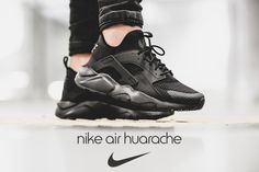 Check out what the Nike Air Huarache Ultra BR Triple Black looks like once you lace them up. Nike Huarache, Nike Air Huarache Ultra, Nike Basketball, Latest Sneakers, Triple Black, Shoe Dazzle, Huaraches, Adidas Sneakers, Shoes Sneakers