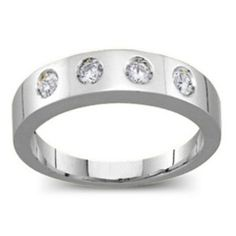 Sterling Silver Belt Ring with 2-6 Round Stones #jewlr