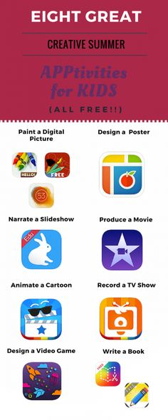 Eight Great Creative Summer APPtivities for Kids – all FREE!  This posts has links to the apps and the suggested activities.