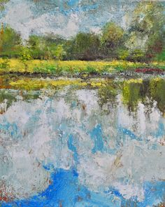 """Raymond Berry:  Luck's Farm, Cloud Reflections, May 9, 2015, Encaustic on Panel, 10"""" x 8"""""""
