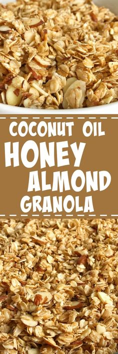 This coconut oil honey almond granola is loaded with whole grain oats + almonds and cooked in a sweet glaze of honey and coconut oil. It comes together in minutes and the taste is out of this world delicious! Plus, it's homemade with simple ingredients. C